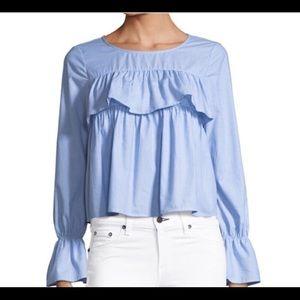 JOIE ADOTTE LONG SLEEVE RUFFLE BLUE BLOUSE TOP NEW